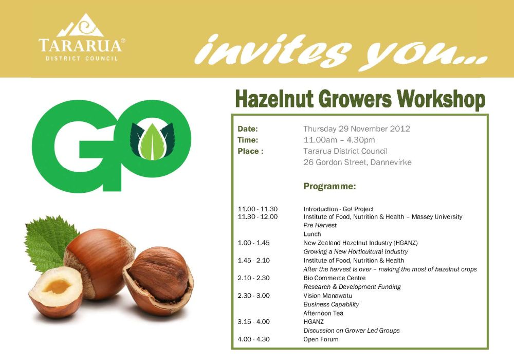 Tararua DC Hazelnut Workshop poster